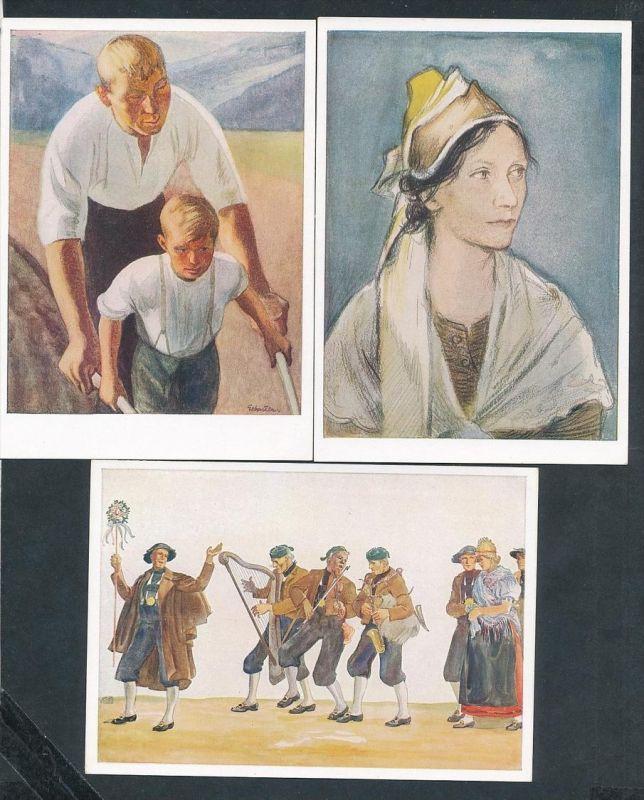 Propaganda  3 Karten  -VDA  -Sudetenland Tracht  - ungebraucht( t2144 ) siehe scan
