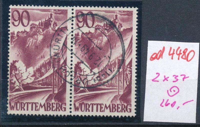 Würtemberg  Nr.2x 37    o  (ed4480  ) siehe scan