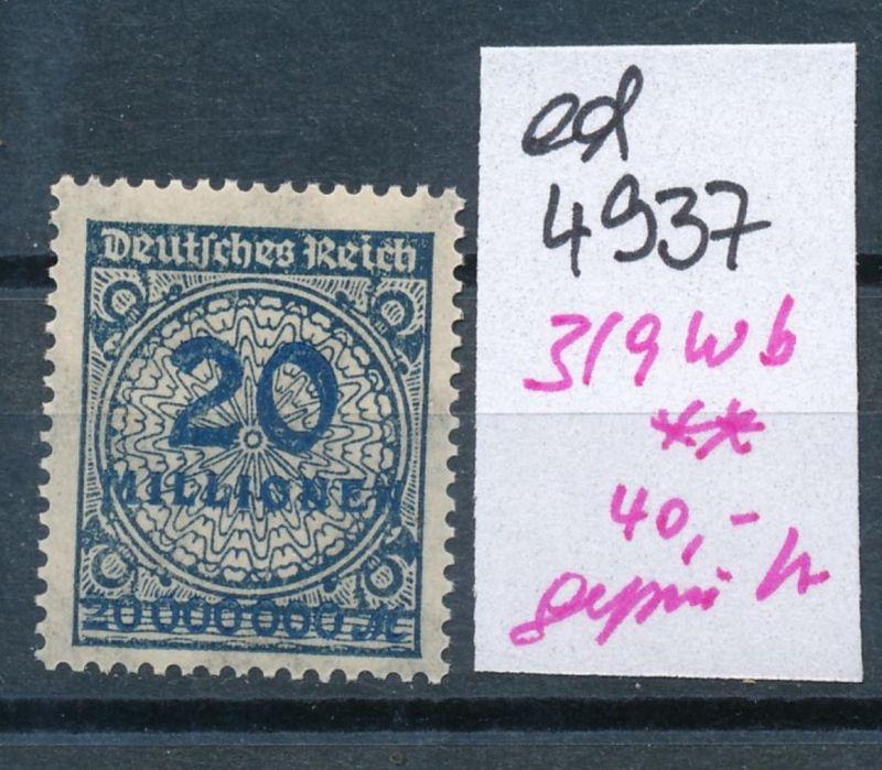 D.-Reich Nr.  319 w b  geprüft   **    (ed4937  ) siehe scan