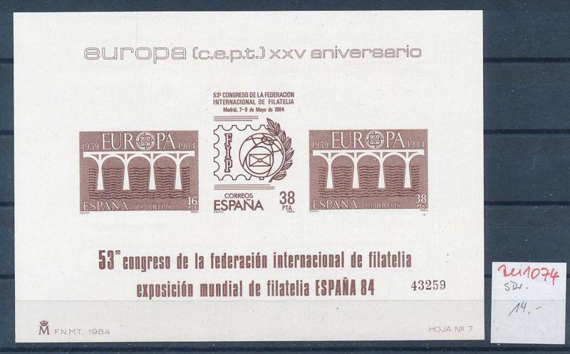 Spanien   Sonder  Druck Europa 1984         **   (zu1074  ) siehe scan