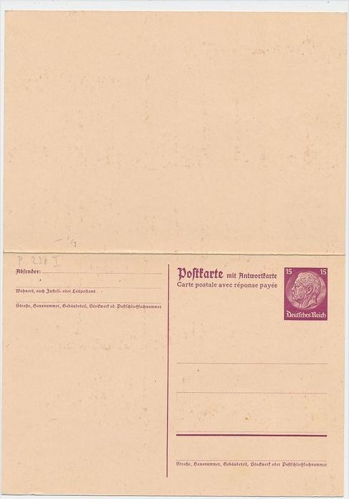 DR.-Ganzsache - Hindenburg  Doppel Ausland  (be3884 ) siehe scan