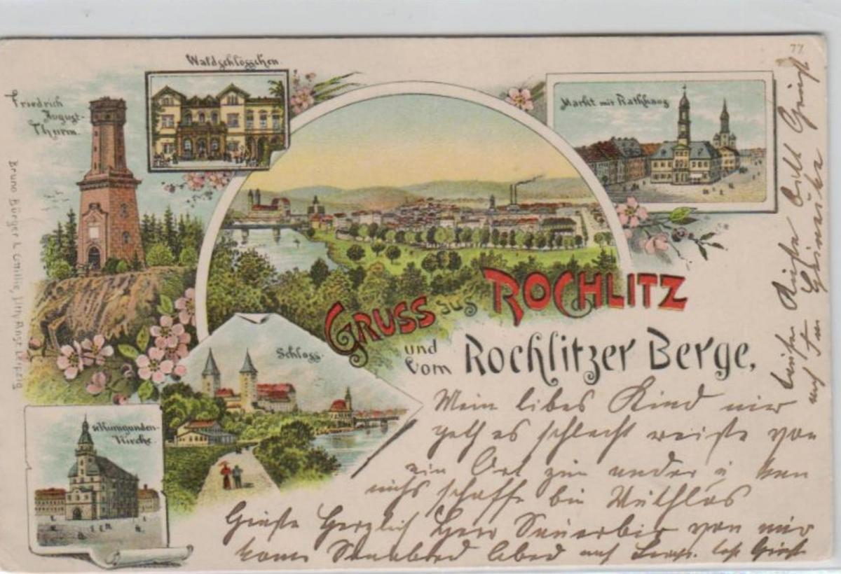 Rochlitz   .....alte Litho Karte    (ke2027   ) siehe scan