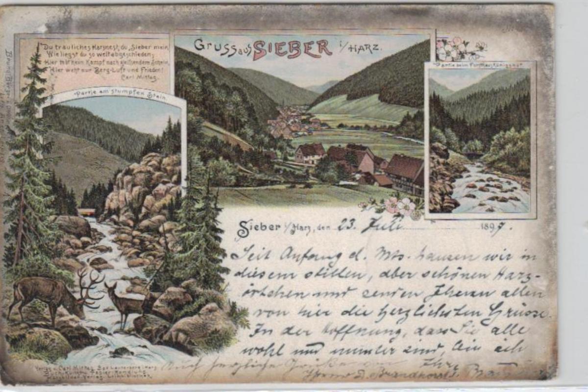 Sieber  ...alte Litho Karte    (ke2117  ) siehe scan