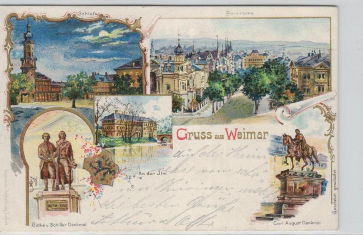Weimar   .....alte Litho Karte    (ke2377   ) siehe scan