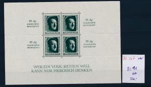 D.-Reich Nr. Block  11    - bitte Zettel beachten -winziger Eckbug unten    (zu207  ) siehe scan