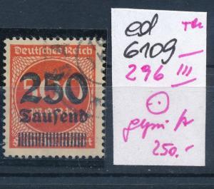 D.Reich Nr 296   III   geprüft   (ed6109  ) siehe scan