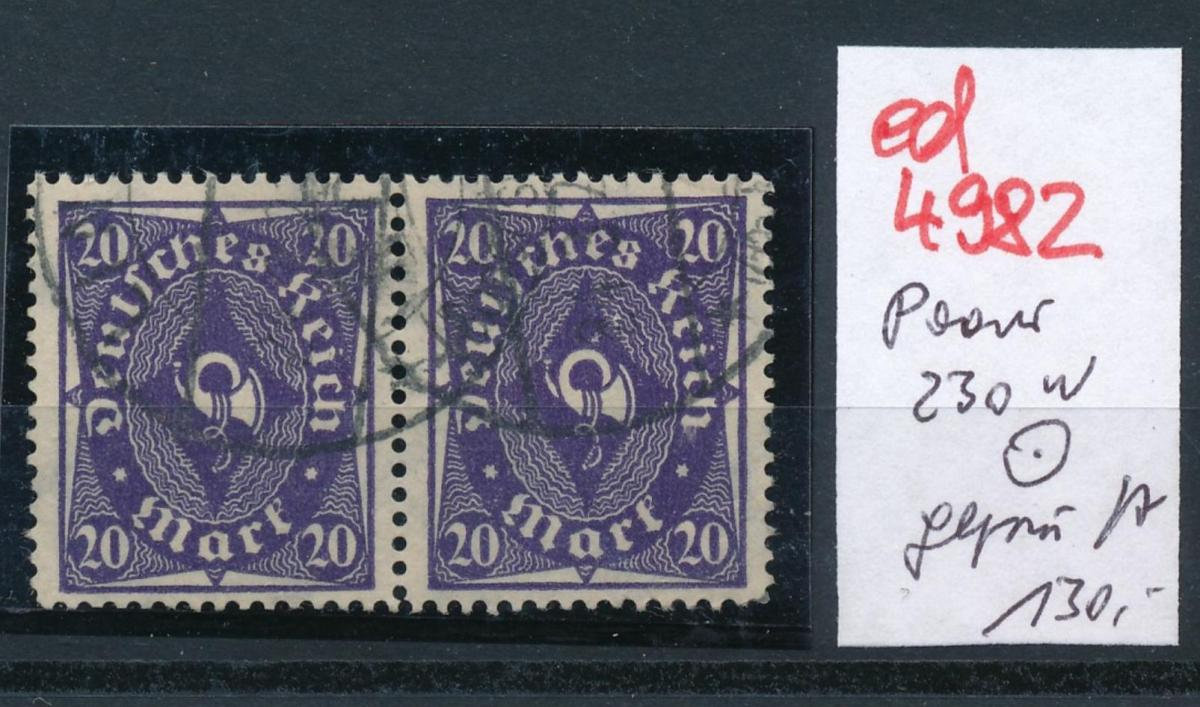 D.-Reich Nr.  Paar 230 w  -o-   geprüft       (ed4982  ) siehe scan 0