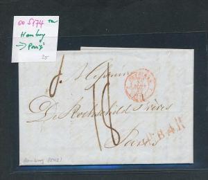 Hamburg-Paris  Beleg von 1842..... mit Text  (oo5174  ) siehe scan !