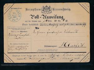 Braunschweig alte Postanweisung  (ze9597  ) siehe scan....
