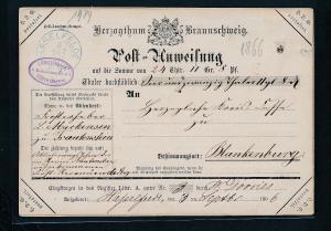 Braunschweig alte Postanweisung  (ze9598  ) siehe scan....