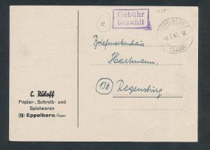 Saar -Vorläufer-Heimat  Beleg ...Gebühr bezahlt...(oo4908  ) siehe scan !