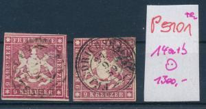 Würtemberg  Nr.  Stempel  14 a+b  o   (p5101  ) siehe scan