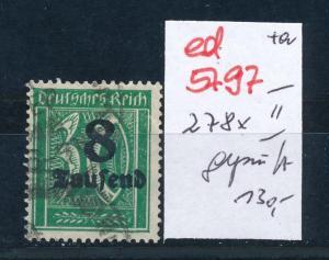 D.-Reich Nr. 278 x II   o  signiert  (ed5797  ) siehe scan