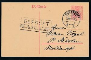 D.-Reich -Rumänien  P1  Ganzsache Zensur Stempel   (oo9482  ) siehe scan
