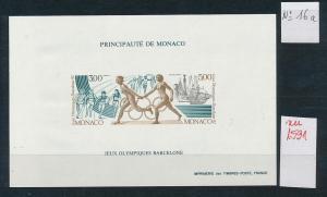 Monaco Block  Olympia 1992    ** GESCHNITTEN !   (zu1591  ) siehe scan