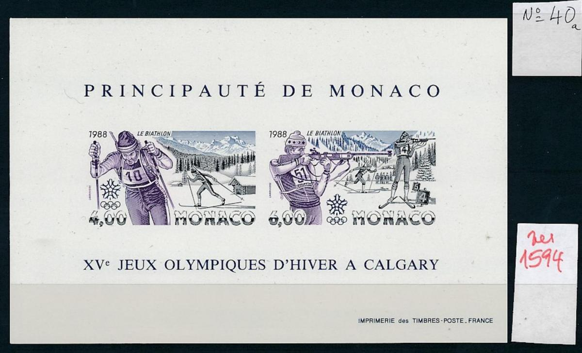 Monaco Block  Olympia 1988    ** GESCHNITTEN !   (zu1594  ) siehe scan 0