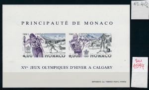Monaco Block  Olympia 1988    ** GESCHNITTEN !   (zu1594  ) siehe scan