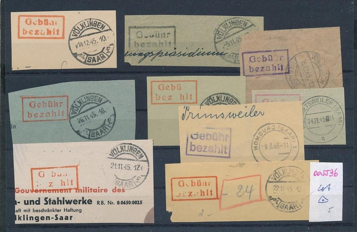 Saar -Vorläufer-Heimat  Lot Ausschnitte ...Gebühr bezahlt...(oo5536  ) siehe scan ! 0