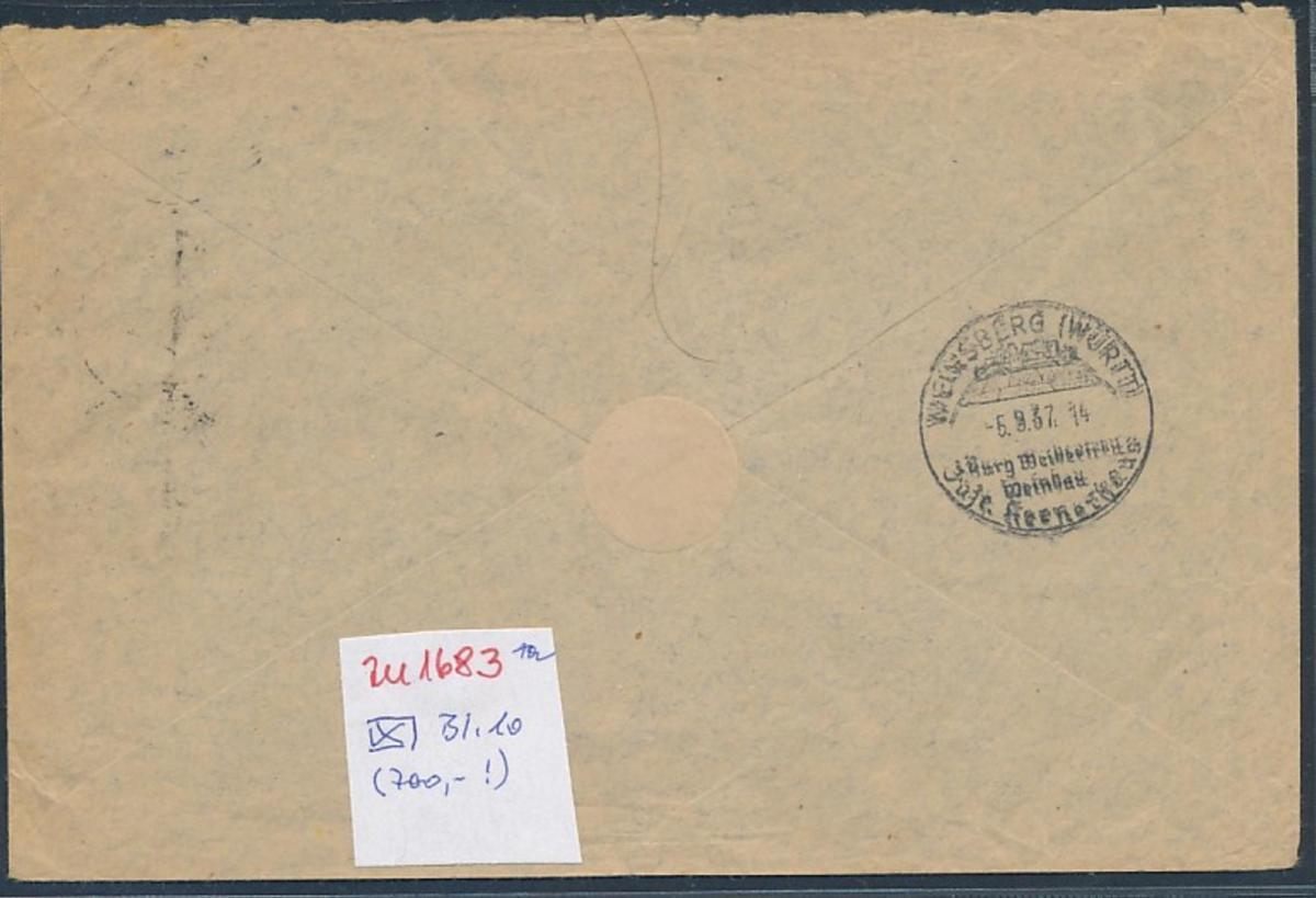 DR.Block 10 auf Brief-Bedarf Erhalt (700,-)    (zu1683  ) siehe scan 1