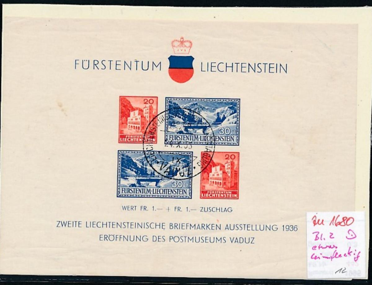 Liechtenstein Block 2 ....   (zu1680  ) siehe scan 0