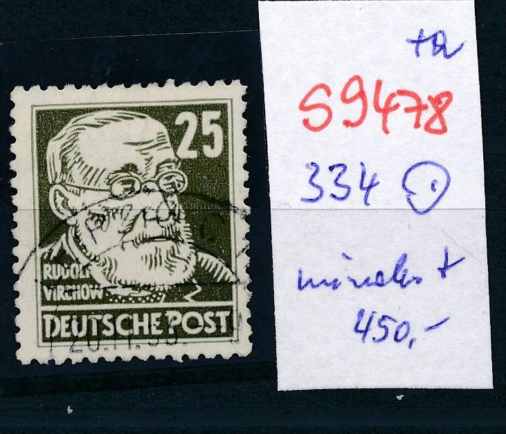 DDR  Nr. 334  o  wohl die seltenste DDR Marke  (s9478  ) siehe scan.... 0