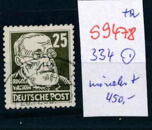 DDR  Nr. 334  o  wohl die seltenste DDR Marke  (s9478  ) siehe scan....