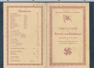 Preisliste LLoyd Bremen -historische Schrift ...( bg2659  ) siehe scan