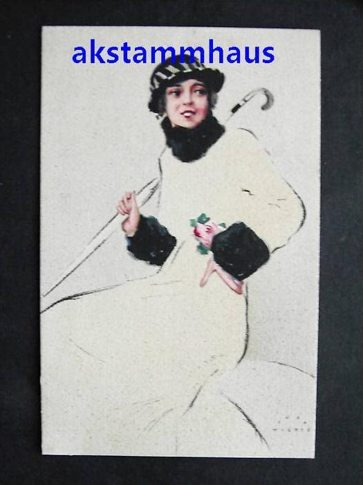 WIERTZ, Jupp - Künstler AK - Frau m. Hut und Regenschirm