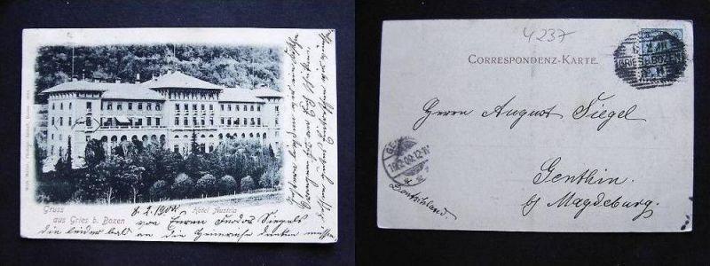 BOZEN Bolzano Südtirol - Gries - Hotel Austria - 1900
