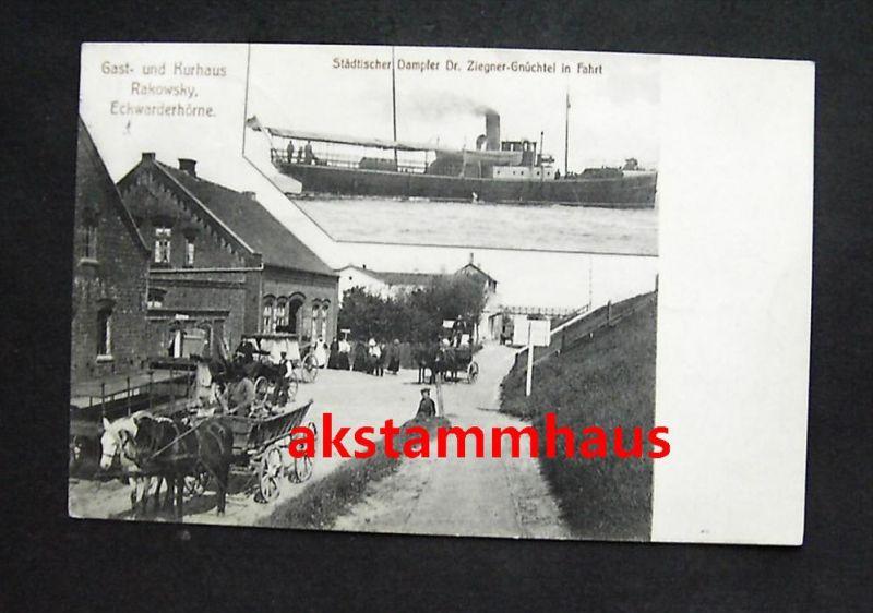 ECKWARDERHÖRNE Butjadingen Nordenham Wesermarsch - Gasthaus RAKOWSKY toll belebt - Dampfer Dr. ZIEGNER-GNÜCHTEL - 1910