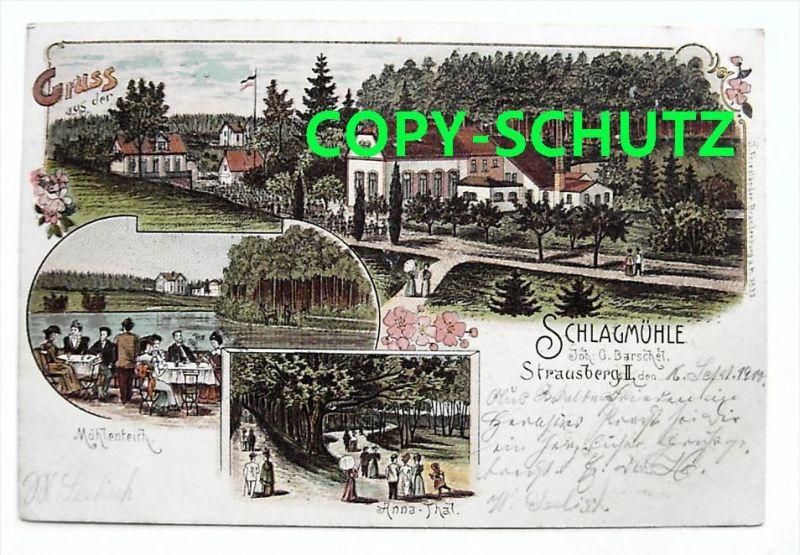 STRAUSBERG - Litho - Gasthaus Schlagmühle - 1900