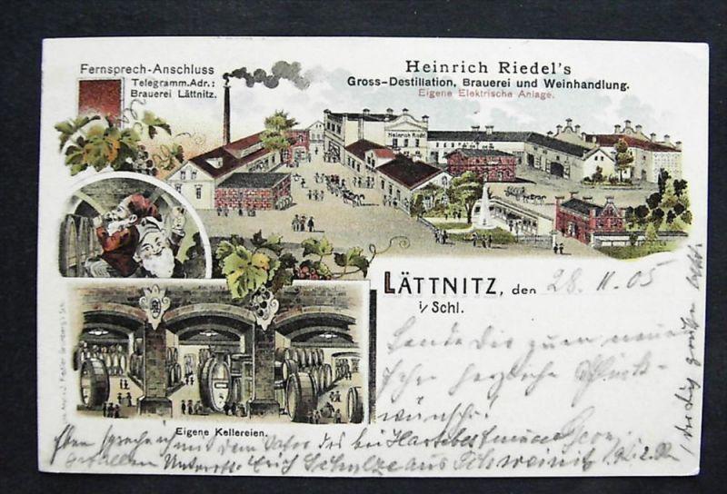 LÄTTNITZ Letnica Schweinitz Grünberg - Litho - Brauerei H. RIEDEL Zwerge - 1905 0