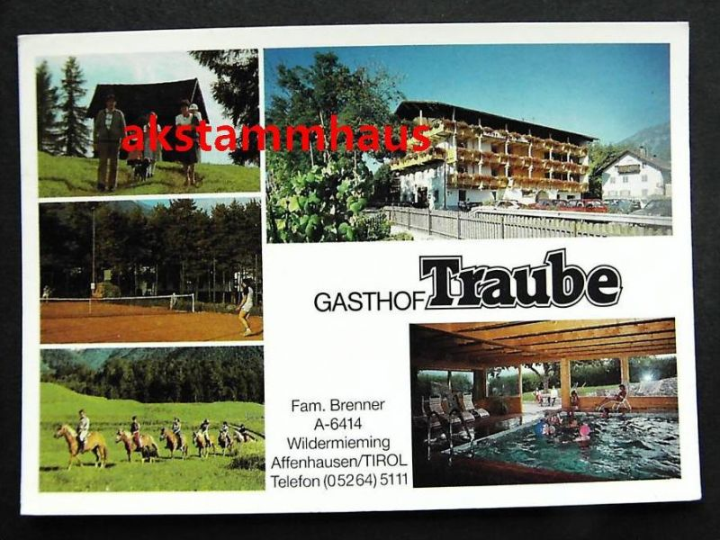 WILDERMIEMING Affenhausen Tirol - Gasthof TRAUBE - Fam. BRENNER - Tennis Pferde Schwimmbad