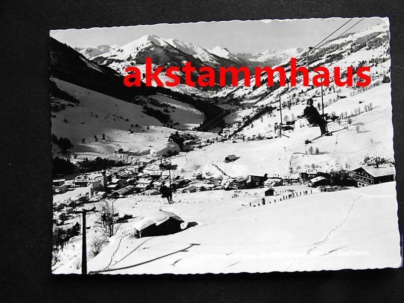 SAALBACH HINTERGLEMM Salzburg - Foto-AK - Talblick m. Kohlmaislift Sessellift im Winter