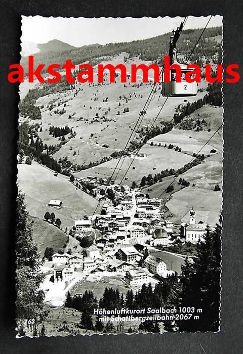 SAALBACH HINTERGLEMM Salzburg - Foto-AK - Talblick m. Schattbergseilbahn Seilbahn im Winter