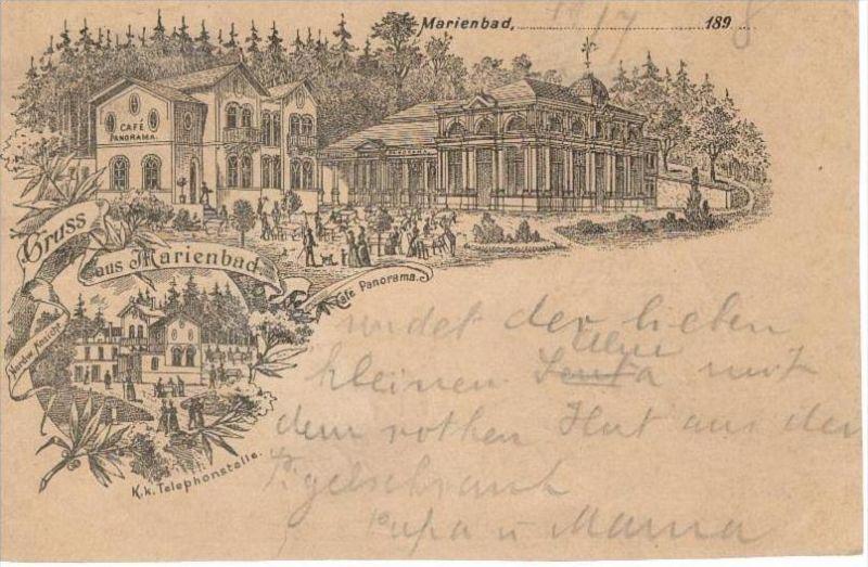 MARIENBAD Mariánské LáznÄ› Eger - Vorläufer Litho - Café PANORAMA - Ganzsache - 1898 - R!