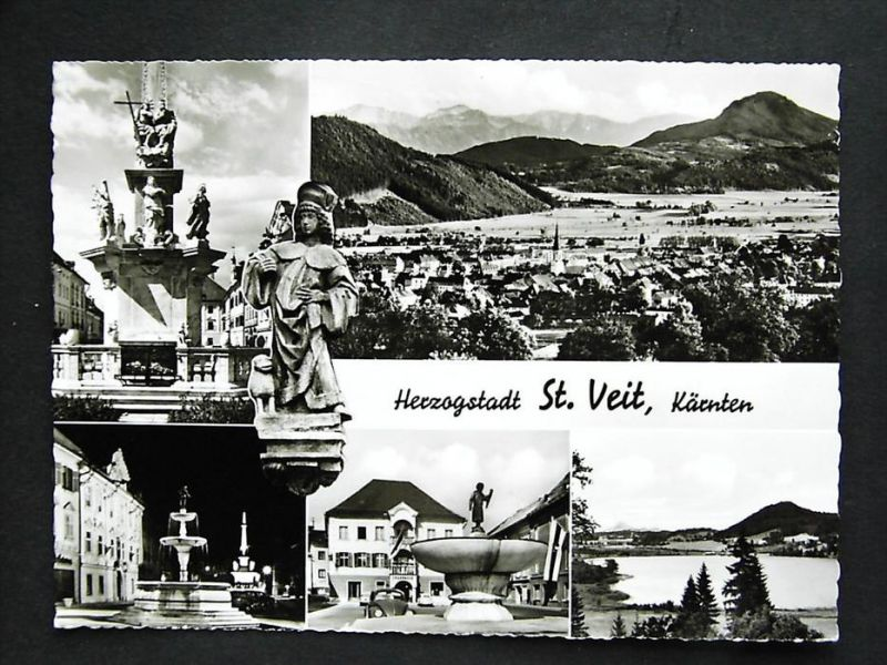 ST. VEIT an der Glan Kärnten - Foto-AK - z. B. Partie m. Sparkasse Auto VW Käfer Brunnen