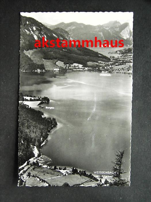 WEISSENBACH AM ATTERSEE Steinbach VÖCKLABRUCK Oberösterreich - Foto-AK - Luftbild m. Burgau