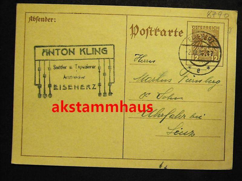 EISENERZ Leoben Steiermark - Postkarte - Absender: ANTON KLING Sattler u. Tapezierer - 1936