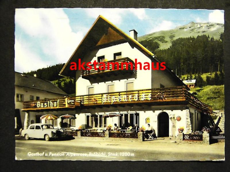 EISENERZ Leoben Steiermark - Foto-AK - Gasthof Pension ALPENROSE Präbichl - Auto  DAIMLER - 1965