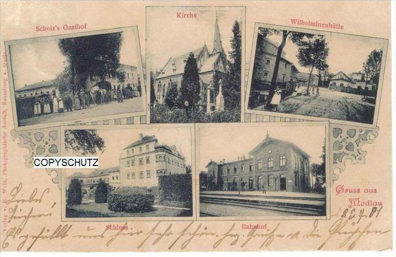 MODLAU Modla Gromadka Bunzlau - z. B. Gasthof - Bahnhof - Schloß - 1901