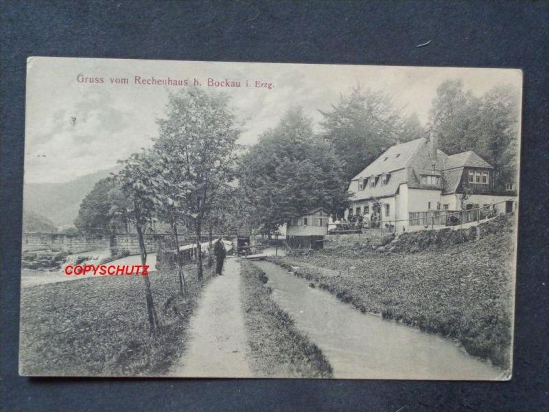 BOCKAU Erzg. Zschorlau Aue - Gasthaus RECHENHAUS schön belebt! - 1910