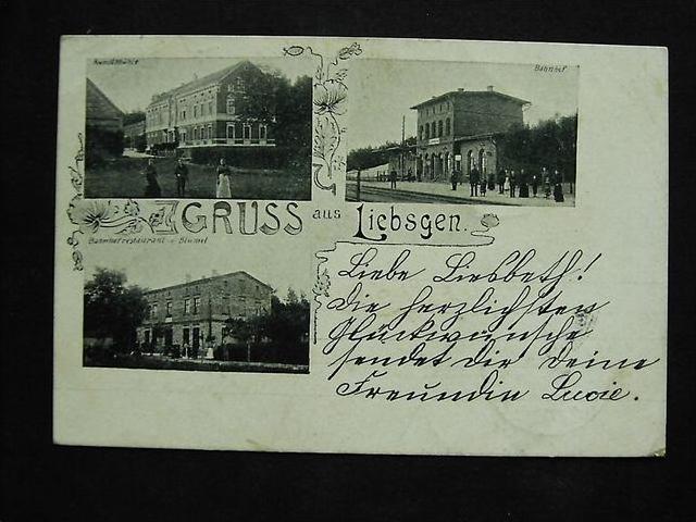 LIEBSGEN Lipsk Zarski Jasien Sorau - z. B. Bahnhof gleiss. belebt  - 1901