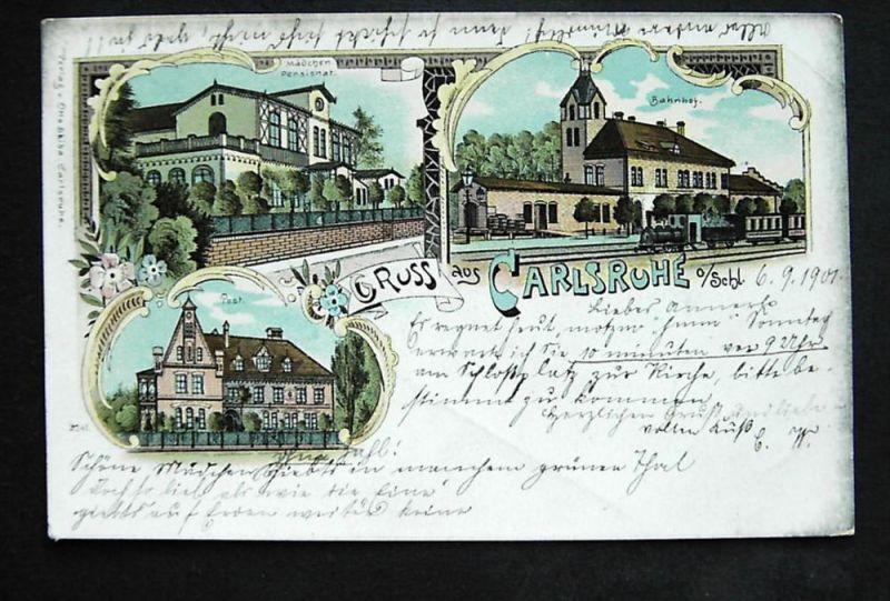 CARLSRUHE O.S. Pokój Namslau Oppeln - Litho - z. B. Bahnhof - 1901 - NUR 7 TAGE!