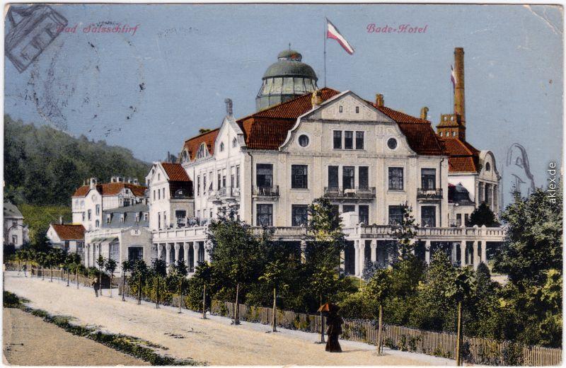Bad Salzschlirf Straßenpartie am bade Hotel Ansichtskarte 1910