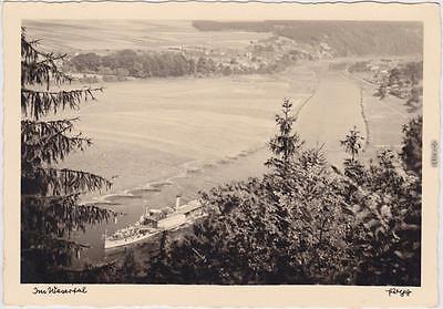 Minden Münden Foto ansichtskarte Blick ins Wesertal - Dampfer 1930