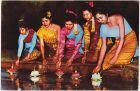 Beautiful Thai Ladies enjoying Loy Krathong Festival-Floating Lighted Flowers 0