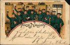 Ansichtskarte  Glückwunsch - Neujahr/Sylvester - Soldatengruppe 1905
