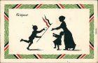Ansichtskarte  Schattenschnitt - Patriotika, Junger Soldat bringt Brief 1916