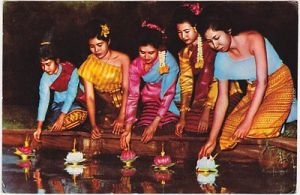 Beautiful Thai Ladies enjoying Loy Krathong Festival-Floating Lighted Flowers 0